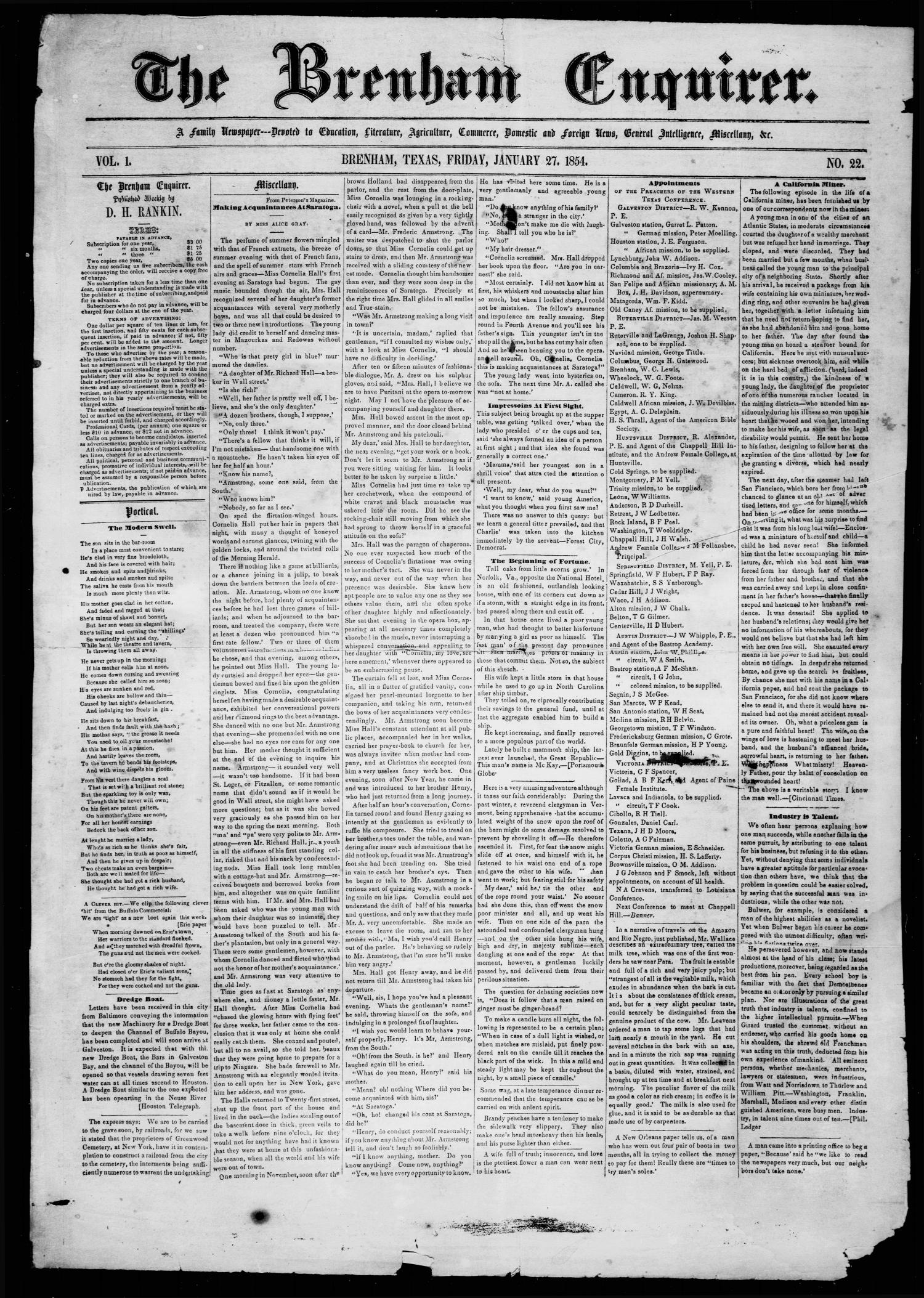 The Brenham Enquirer. (Brenham, Tex.), Vol. 1, No. 22, Ed. 1 Friday, January 27, 1854                                                                                                      [Sequence #]: 1 of 4
