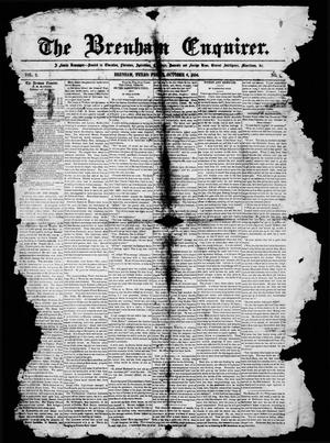 Primary view of object titled 'The Brenham Enquirer. (Brenham, Tex.), Vol. 2, No. 6, Ed. 1 Friday, October 6, 1854'.