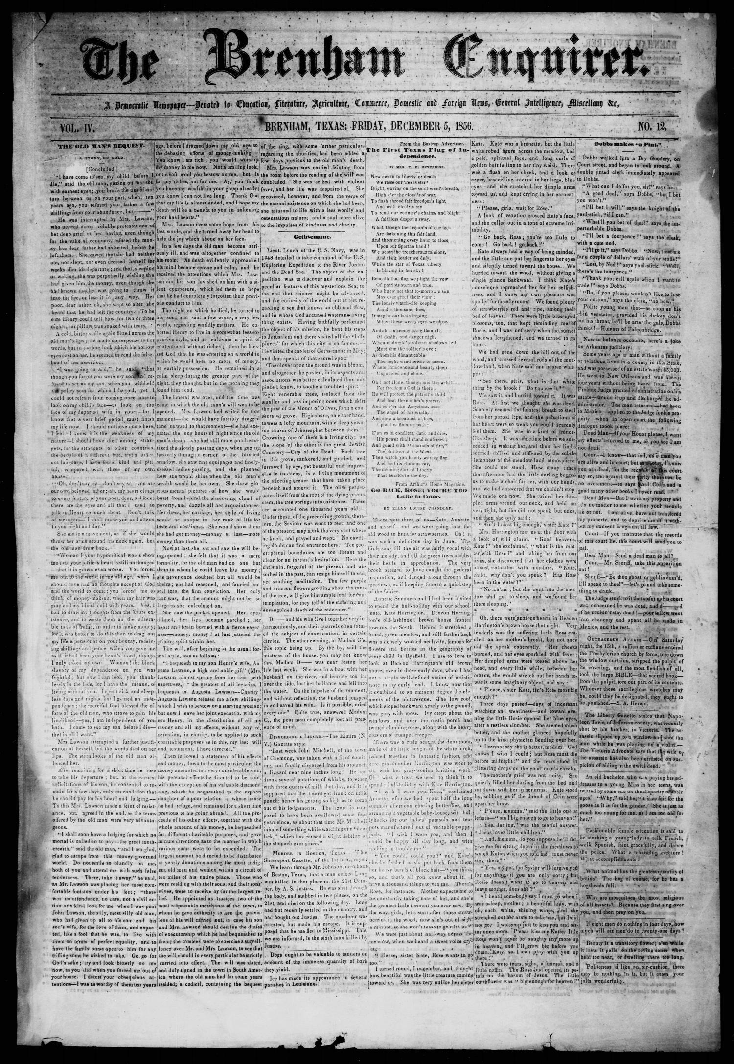 The Brenham Enquirer. (Brenham, Tex.), Vol. 4, No. 12, Ed. 1 Friday, December 5, 1856                                                                                                      [Sequence #]: 1 of 4