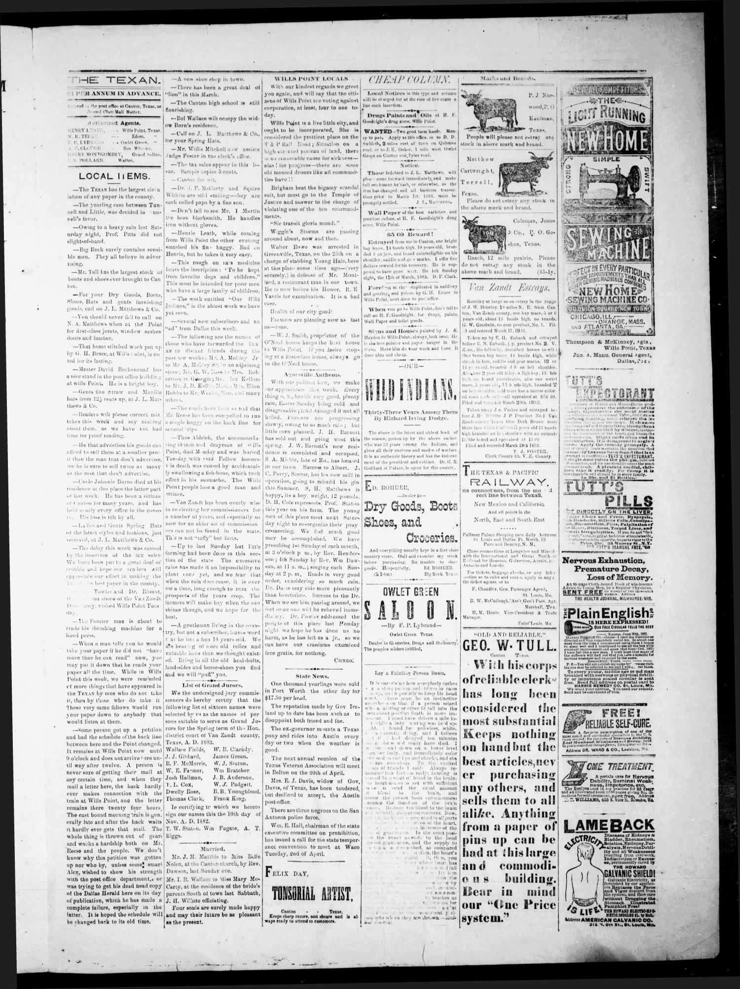 The Canton Texan. (Canton, Tex.), Vol. 2, No. 2, Ed. 1 Friday, March 30,  1883 - Page 3 of 4 - The Portal to Texas History