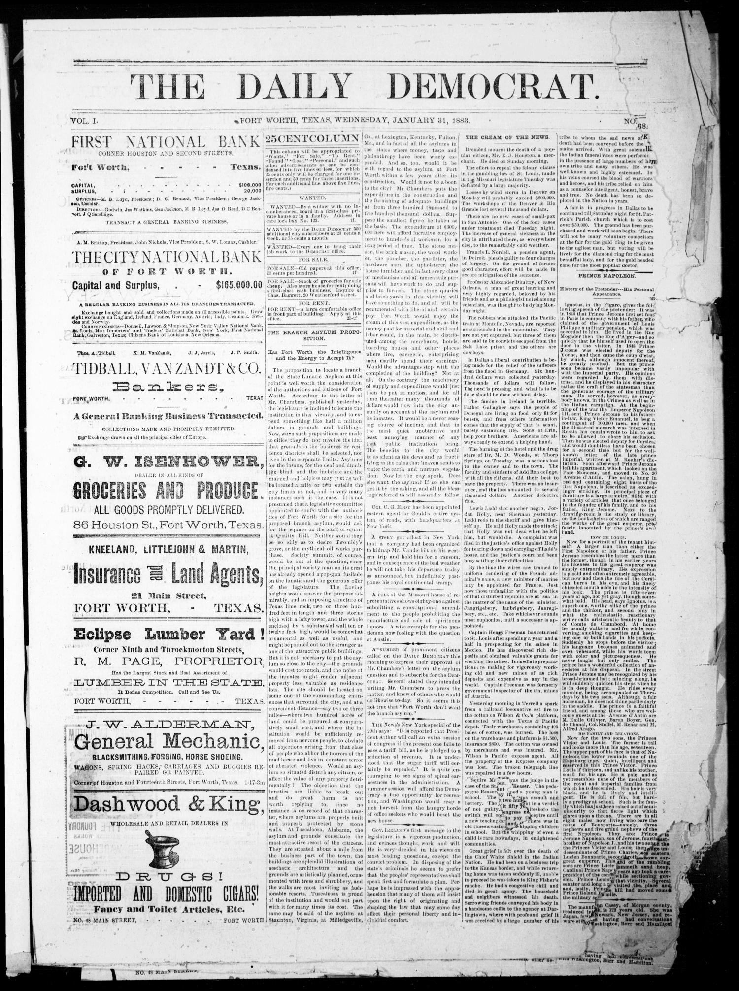 The Daily Democrat. (Fort Worth, Tex.), Vol. 1, Ed. 1 Wednesday, January 31, 1883                                                                                                      [Sequence #]: 1 of 4
