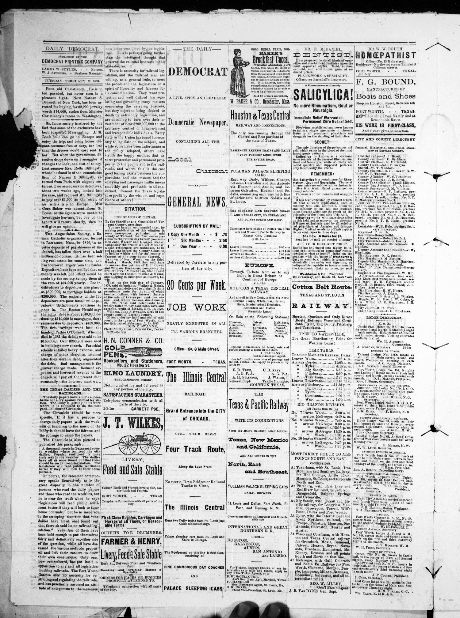 The Daily Democrat. (Fort Worth, Tex.), Vol. 1, No. 90, Ed. 1 Tuesday, February 27, 1883                                                                                                      [Sequence #]: 2 of 4