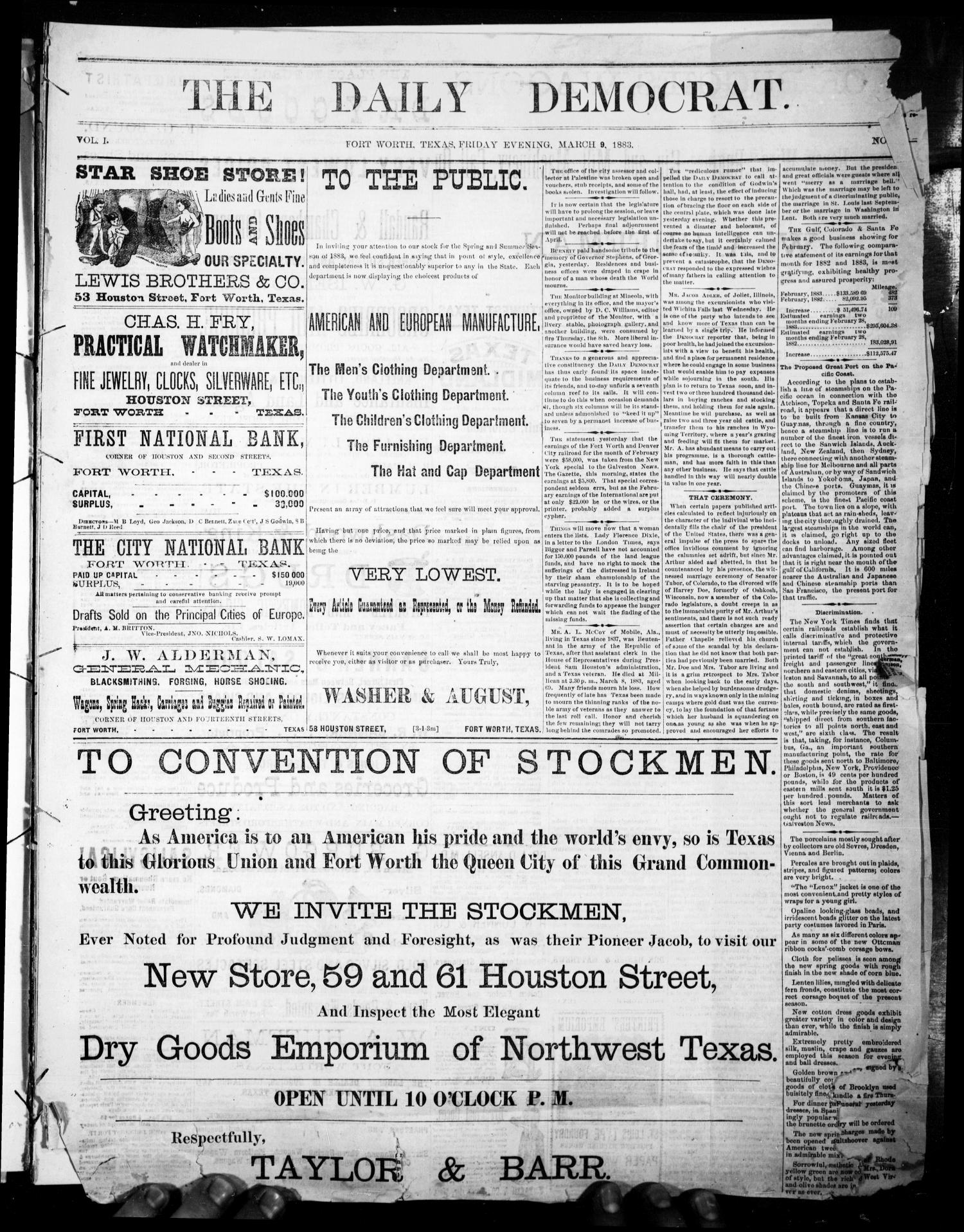 The Daily Democrat. (Fort Worth, Tex.), Vol. 1, No. [99], Ed. 1 Friday, March 9, 1883                                                                                                      [Sequence #]: 1 of 4
