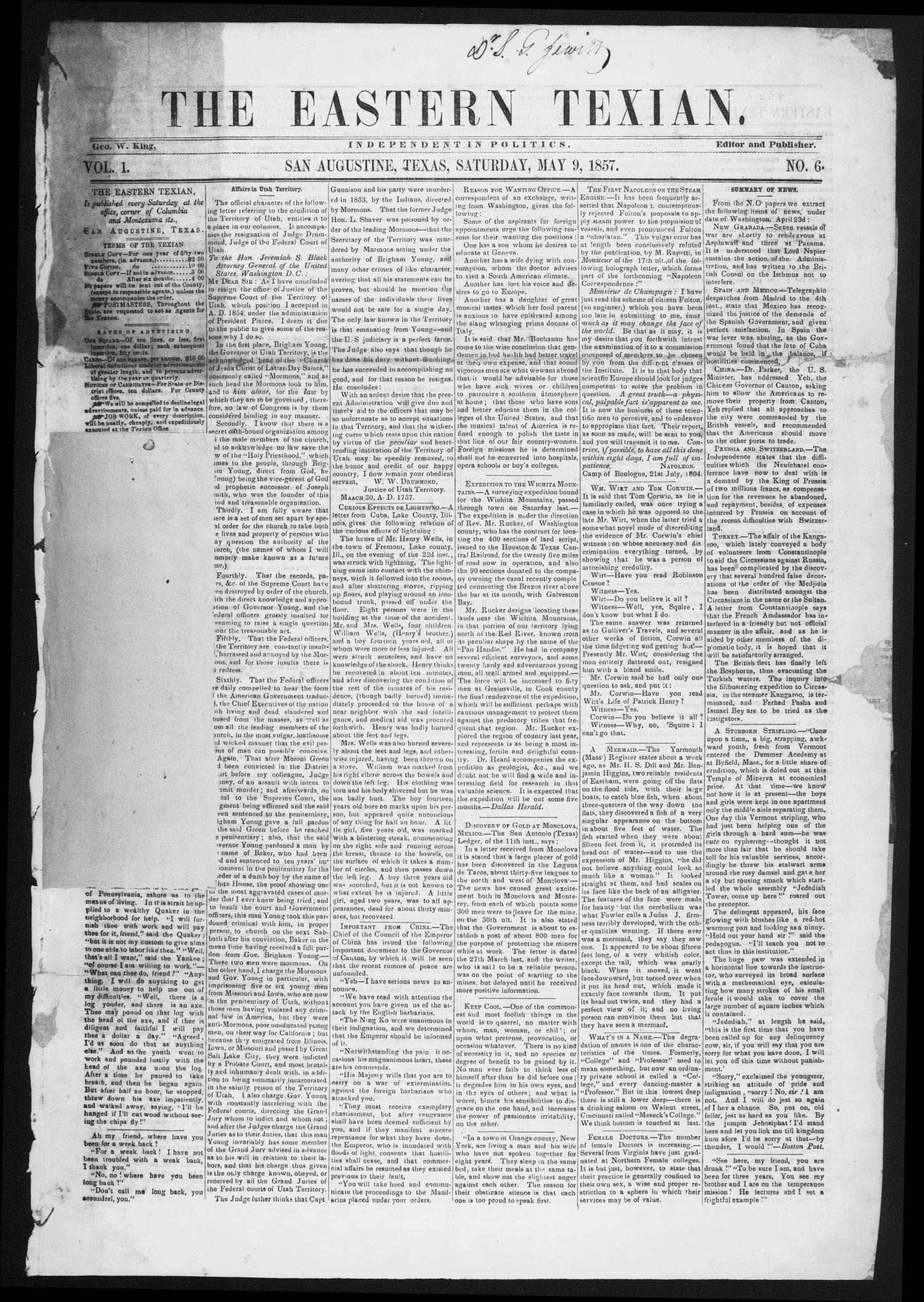 The Eastern Texian (San Augustine, Tex.), Vol. 1, No. 6, Ed. 1 Saturday, May 9, 1857                                                                                                      [Sequence #]: 1 of 4
