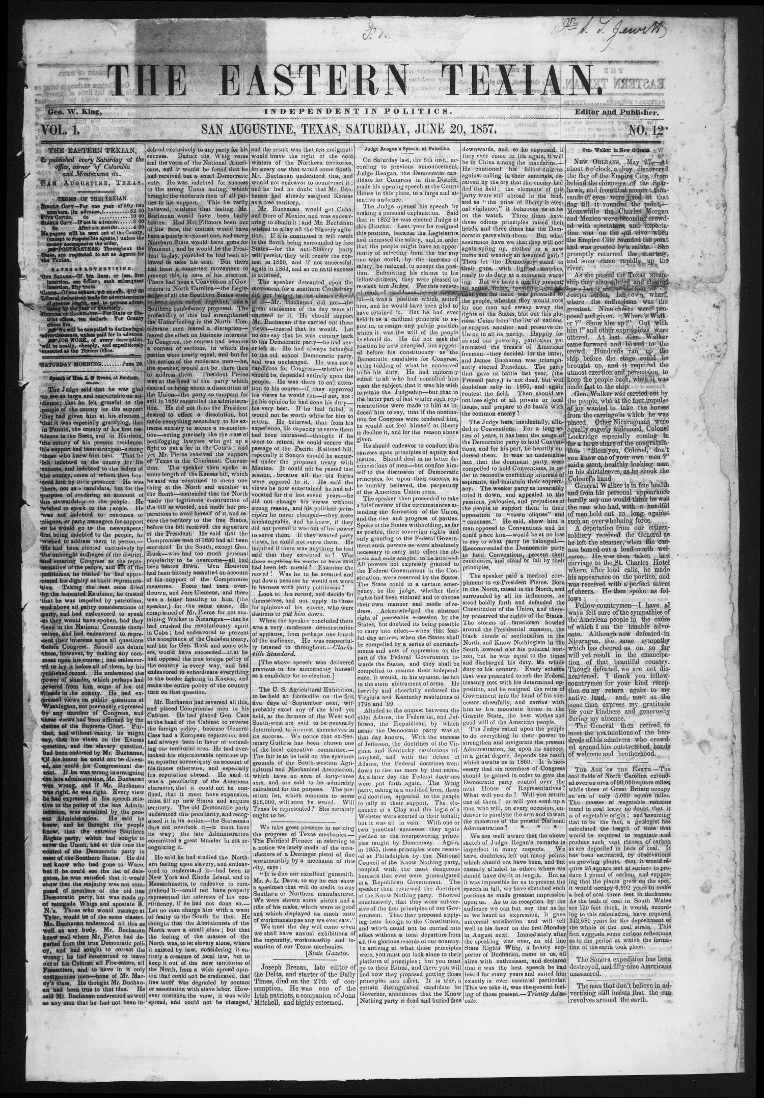 The Eastern Texian (San Augustine, Tex.), Vol. 1, No. 12, Ed. 1 Saturday, June 20, 1857                                                                                                      [Sequence #]: 1 of 4