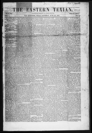 Primary view of object titled 'The Eastern Texian (San Augustine, Tex.), Vol. 1, No. 12, Ed. 1 Saturday, June 20, 1857'.