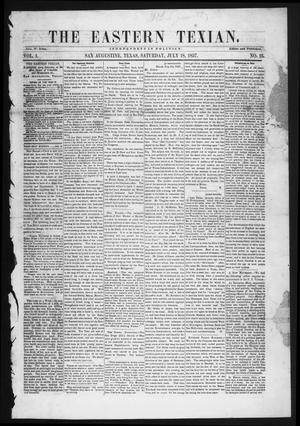 Primary view of object titled 'The Eastern Texian (San Augustine, Tex.), Vol. 1, No. 16, Ed. 1 Saturday, July 18, 1857'.