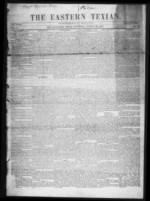 Primary view of The Eastern Texian (San Augustine, Tex.), Vol. 1, No. 22, Ed. 1 Saturday, August 29, 1857