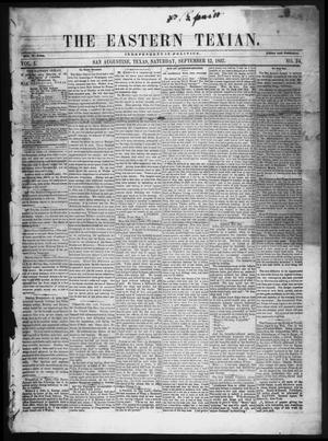 The Eastern Texian (San Augustine, Tex.), Vol. 1, No. 24, Ed. 1 Saturday, September 12, 1857