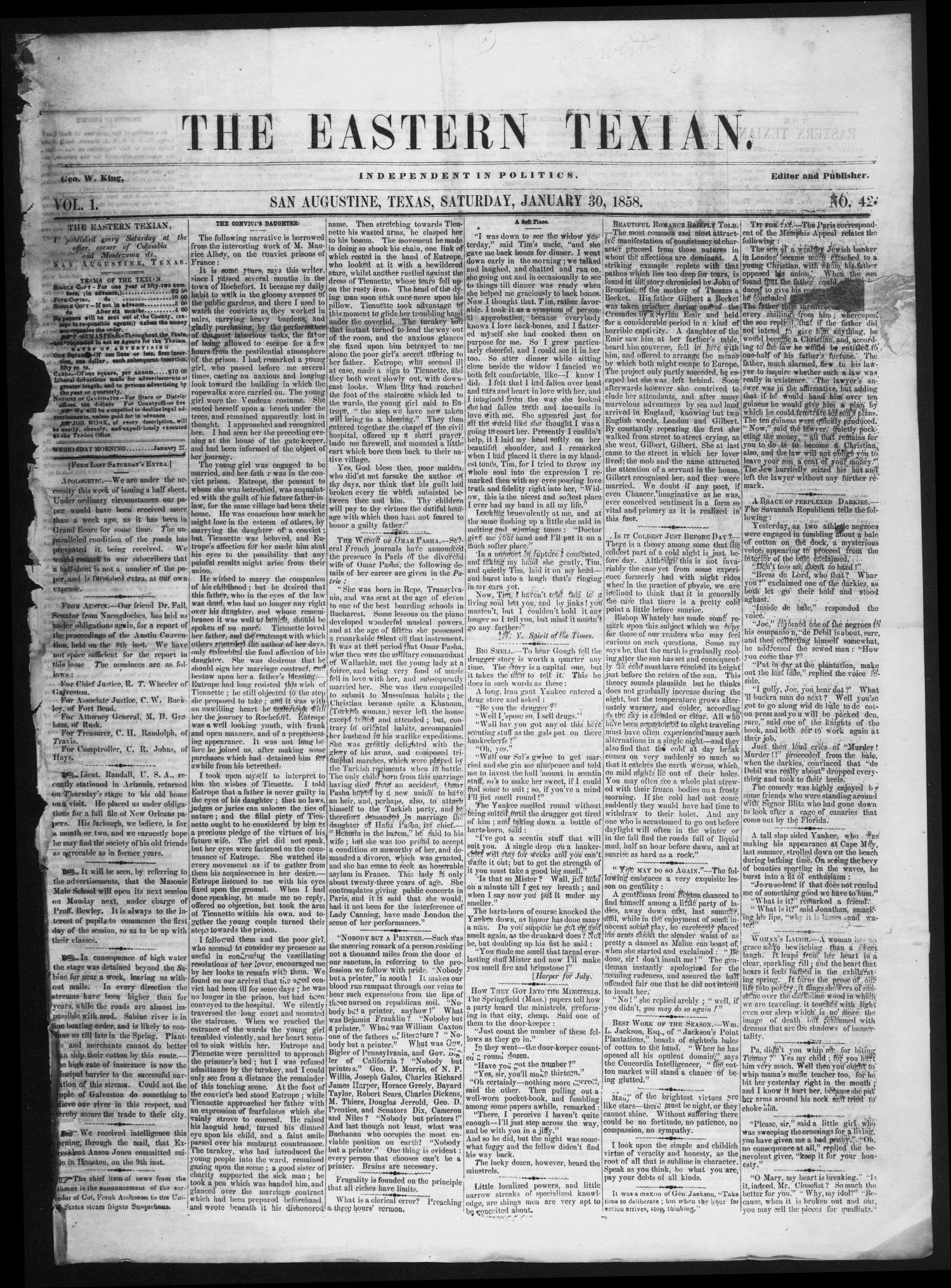 The Eastern Texian (San Augustine, Tex.), Vol. 1, No. 42, Ed. 1 Saturday, January 30, 1858                                                                                                      [Sequence #]: 1 of 4
