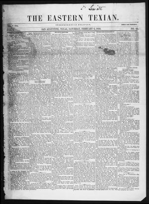 The Eastern Texian (San Augustine, Tex.), Vol. 1, No. 43, Ed. 1 Saturday, February 6, 1858