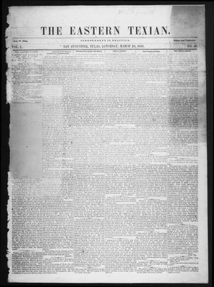 The Eastern Texian (San Augustine, Tex.), Vol. 1, No. 49, Ed. 1 Saturday, March 20, 1858