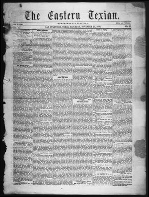 Primary view of The Eastern Texian (San Augustine, Tex.), Vol. 2, No. 30, Ed. 1 Saturday, November 27, 1858