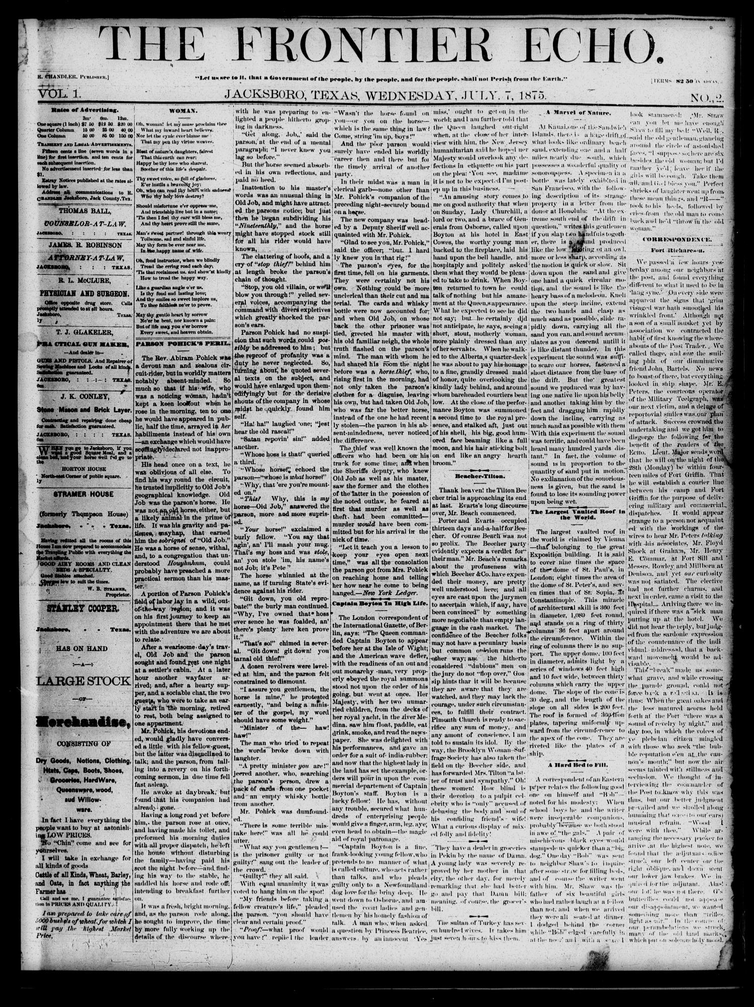 The Frontier Echo (Jacksboro, Tex.), Vol. 1, No. 2, Ed. 1 Wednesday, July 7, 1875                                                                                                      [Sequence #]: 1 of 4
