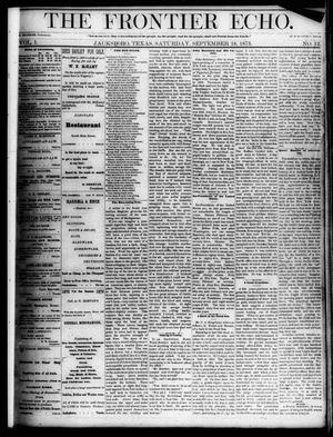 Primary view of object titled 'The Frontier Echo (Jacksboro, Tex.), Vol. 1, No. 12, Ed. 1 Saturday, September 18, 1875'.