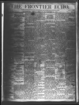 Primary view of object titled 'The Frontier Echo (Jacksboro, Tex.), Vol. 1, No. 21, Ed. 1 Friday, November 26, 1875'.