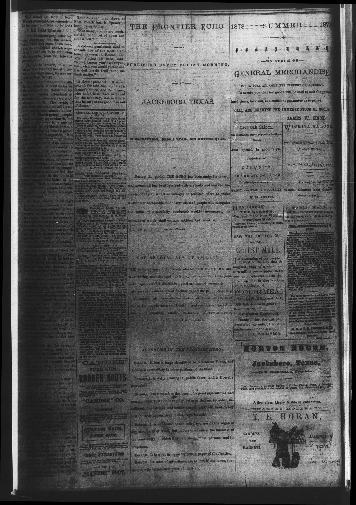 The Frontier Echo (Jacksboro, Tex.), Vol. 4, No. 12, Ed. 1 Friday, October 4, 1878                                                                                                      [Sequence #]: 4 of 4