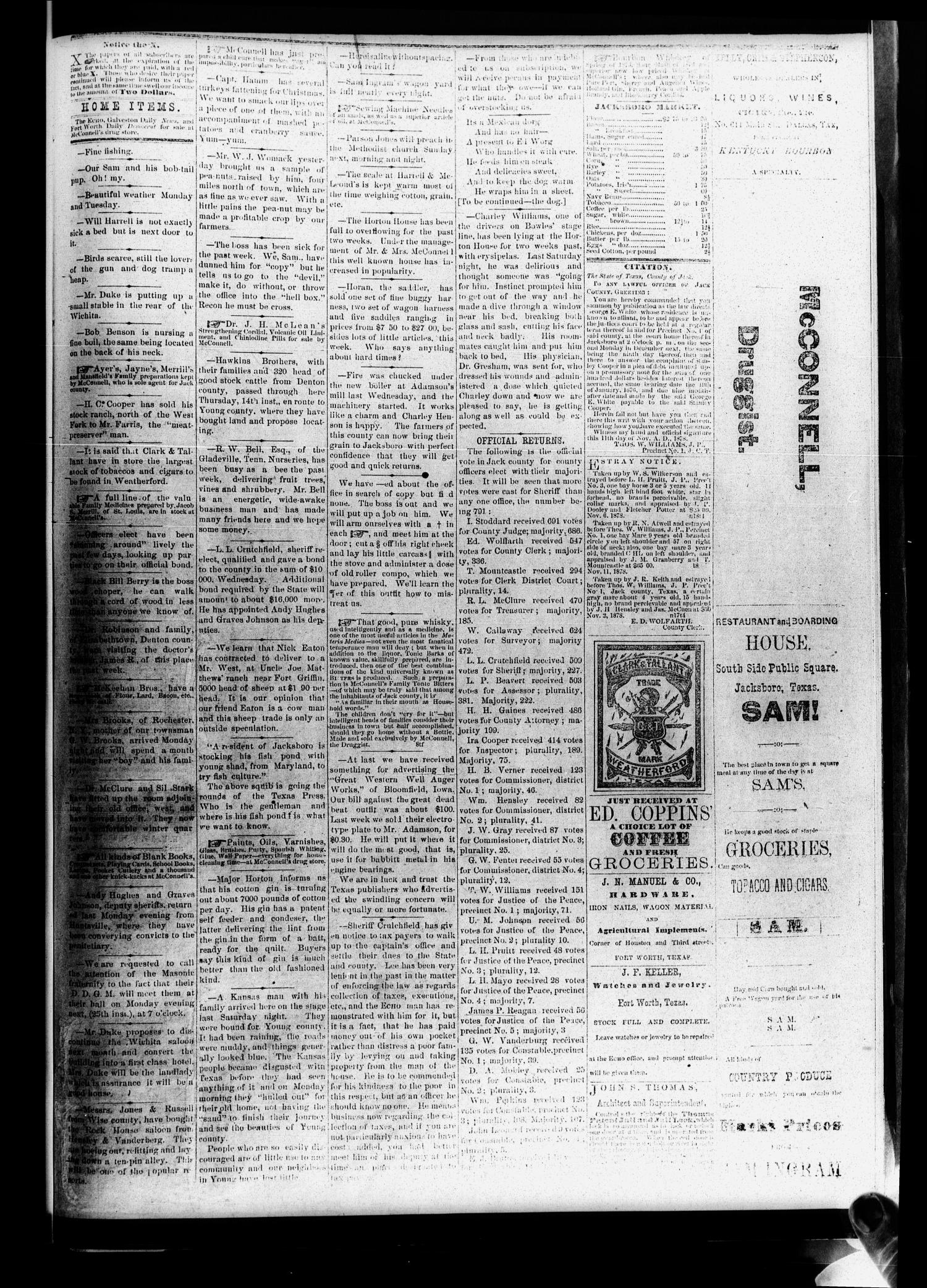 The Frontier Echo (Jacksboro, Tex.), Vol. 4, No. 19, Ed. 1 Friday, November 22, 1878                                                                                                      [Sequence #]: 3 of 4