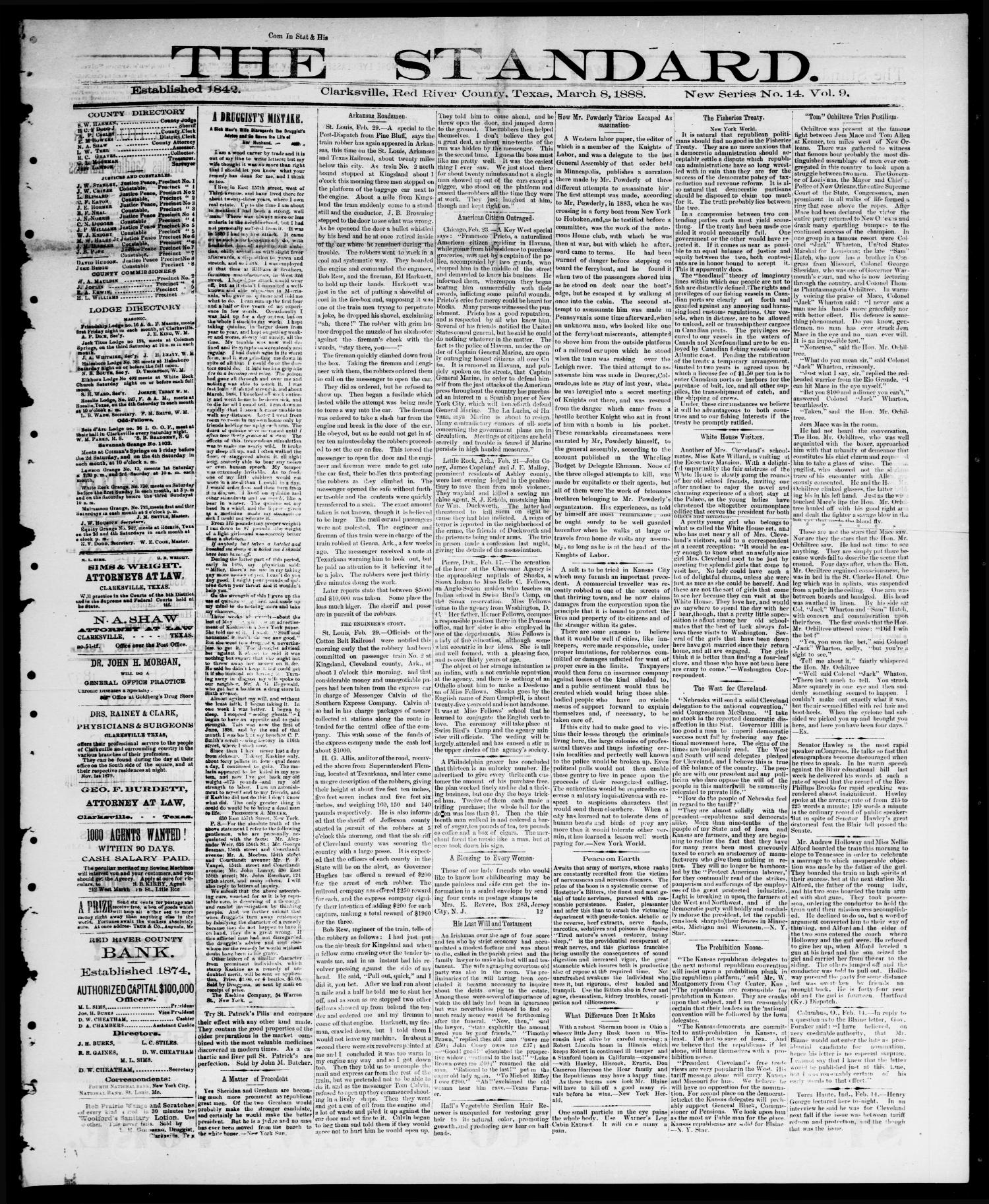 The Standard (Clarksville, Tex.), Vol. 9, No. 14, Ed. 1 Thursday, March 8, 1888                                                                                                      [Sequence #]: 1 of 4