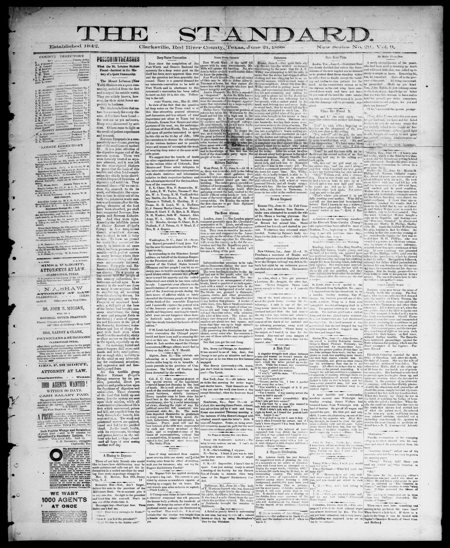 The Standard (Clarksville, Tex.), Vol. 9, No. 29, Ed. 1 Thursday, June 21, 1888                                                                                                      [Sequence #]: 1 of 4