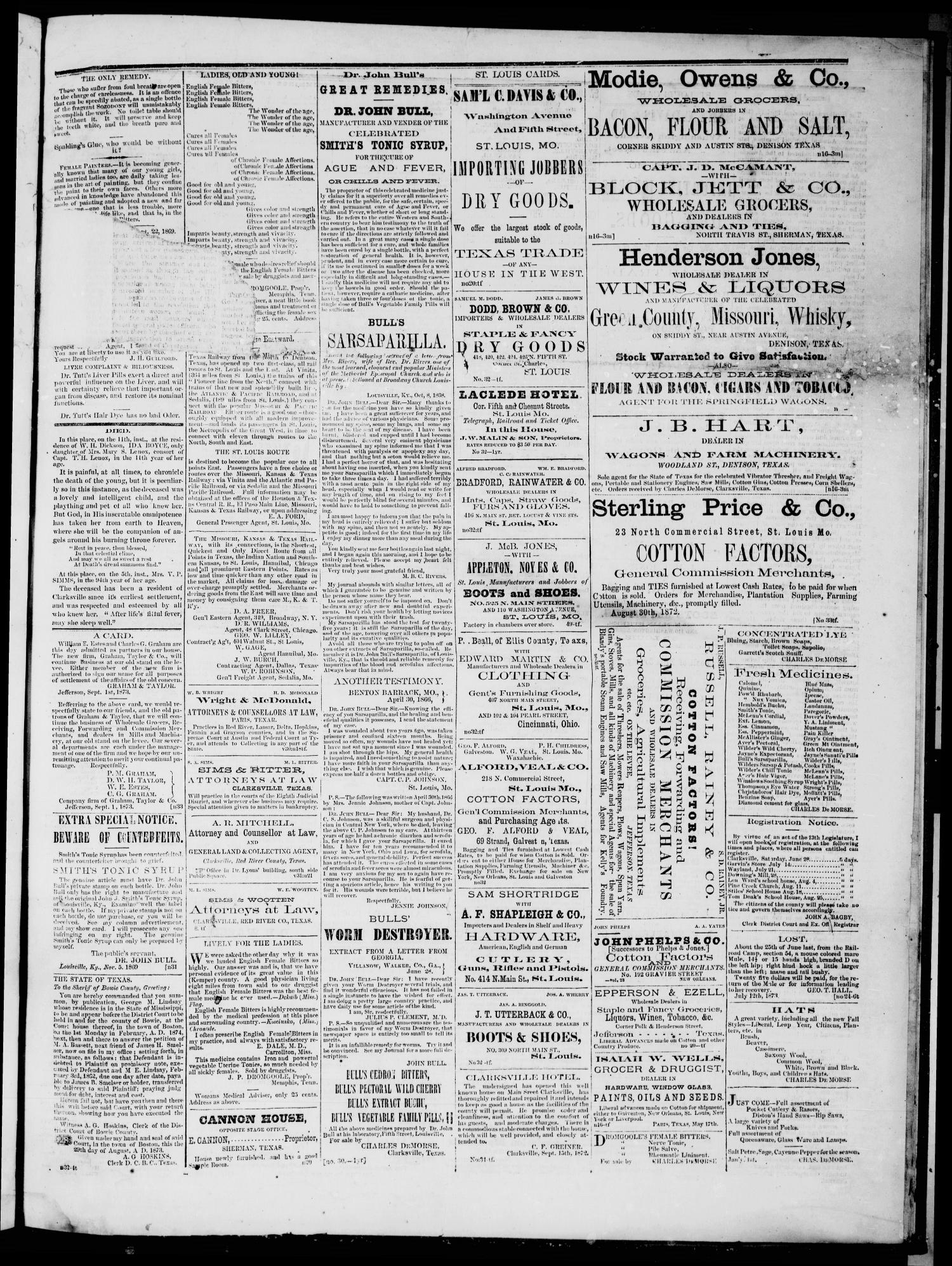 The Standard (Clarksville, Tex.), Vol. 31, No. 33, Ed. 1 Saturday, September 13, 1873                                                                                                      [Sequence #]: 3 of 4