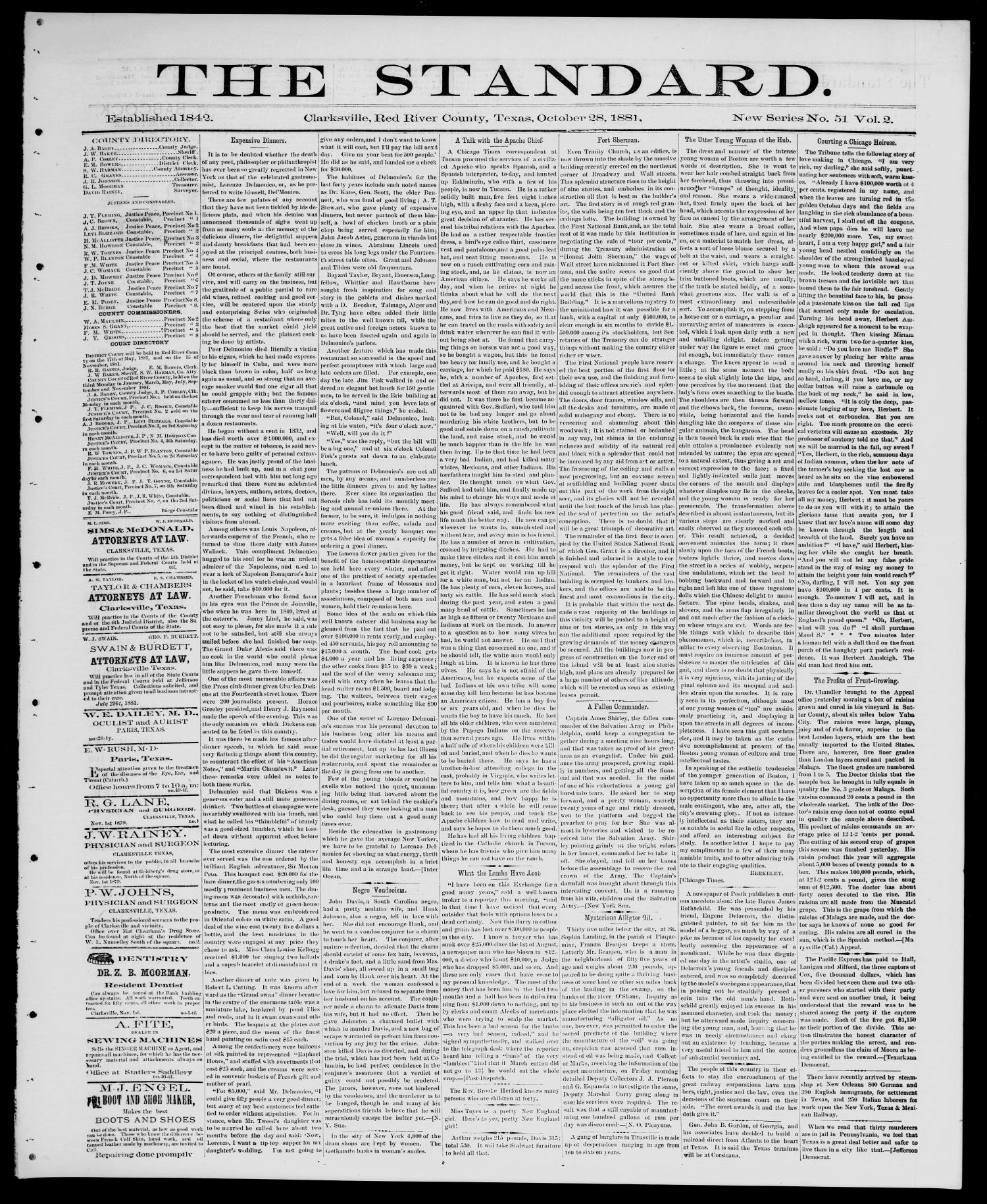 The Standard (Clarksville, Tex.), Vol. 2, No. 51, Ed. 1 Friday, October 28, 1881                                                                                                      [Sequence #]: 1 of 4