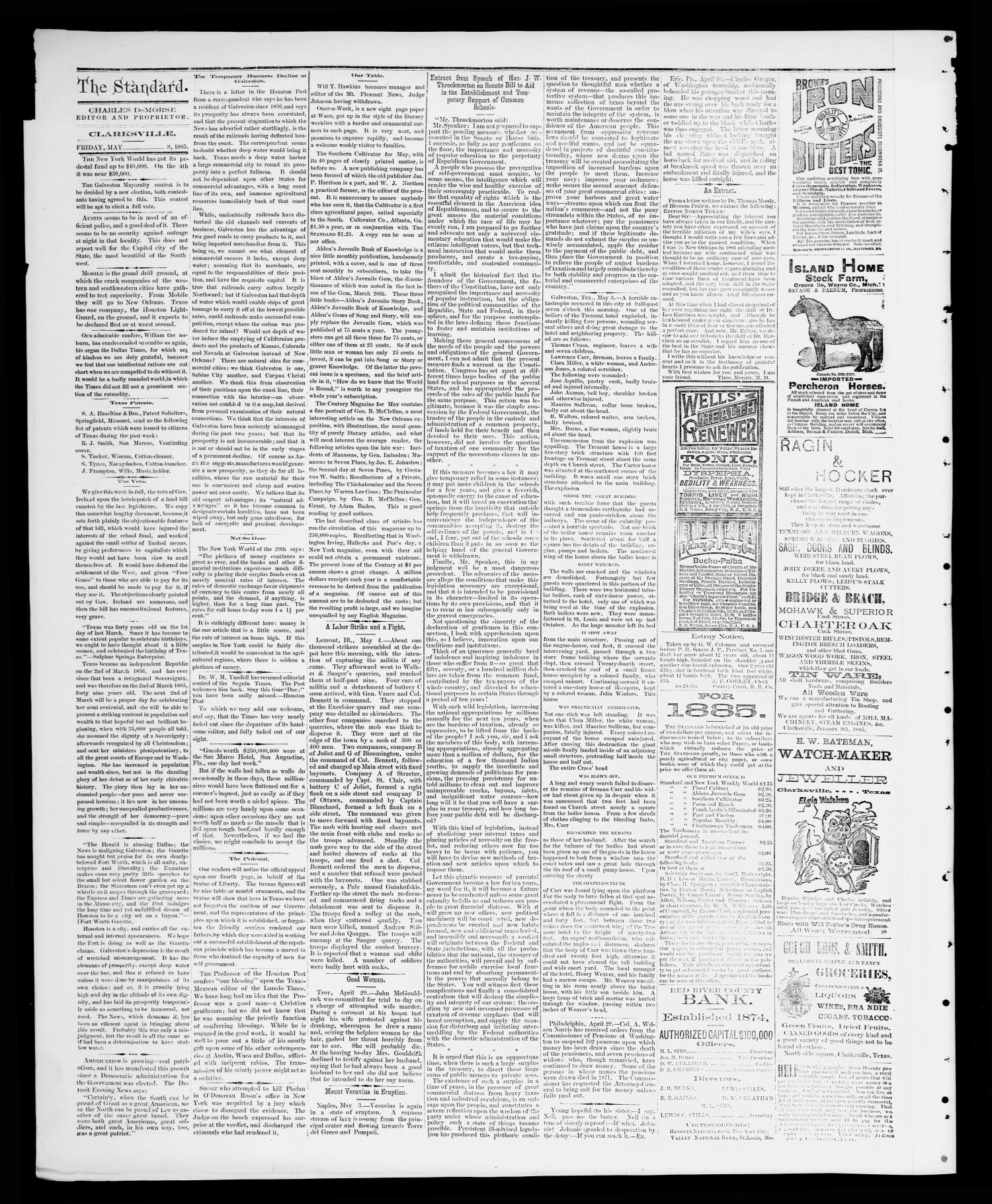 The Standard (Clarksville, Tex.), Vol. 6, No. 25, Ed. 1 Friday, May 8, 1885                                                                                                      [Sequence #]: 2 of 4