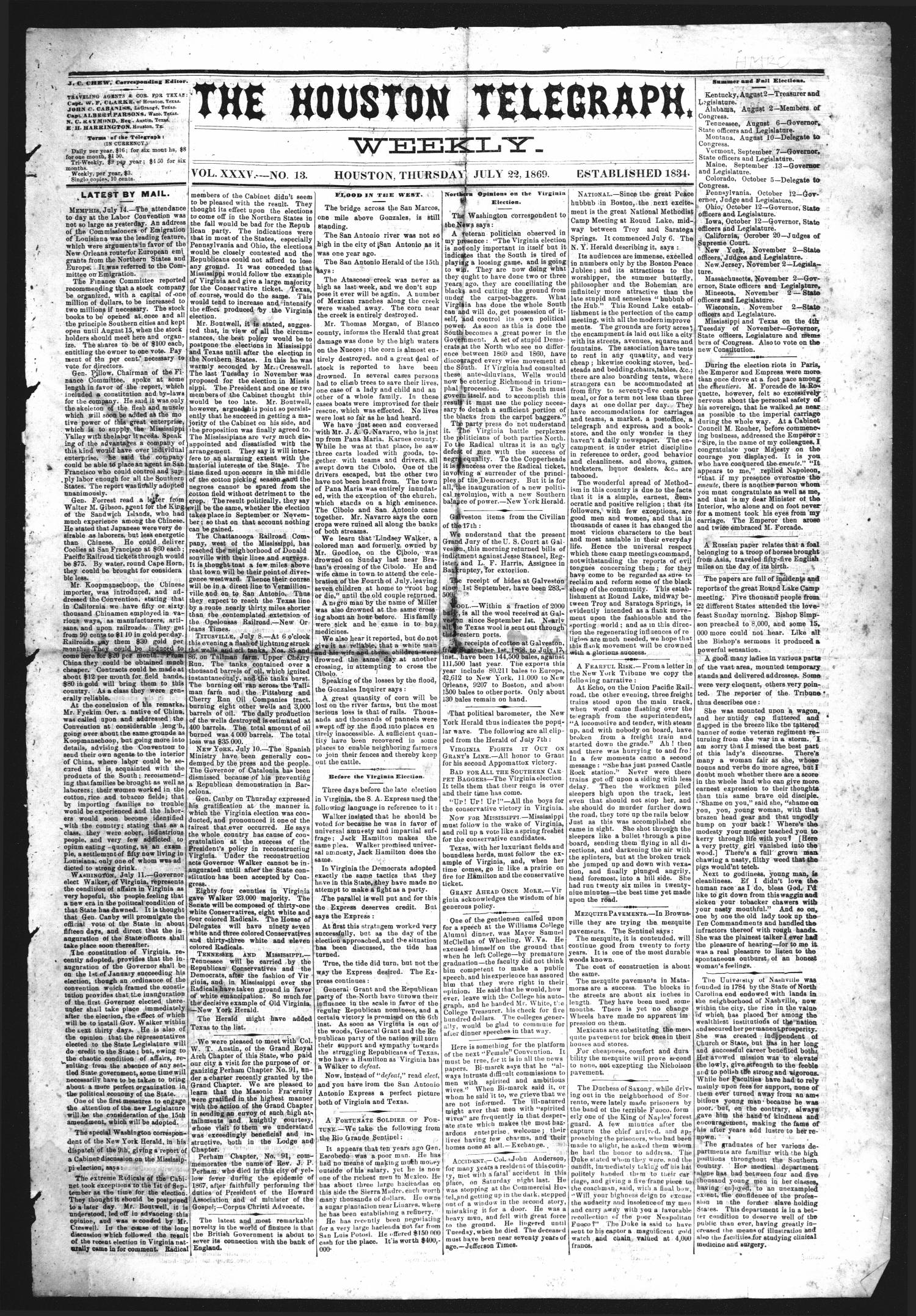 The Houston Telegraph (Houston, Tex.), Vol. 35, No. 13, Ed. 1 Thursday, July 22, 1869                                                                                                      [Sequence #]: 1 of 8