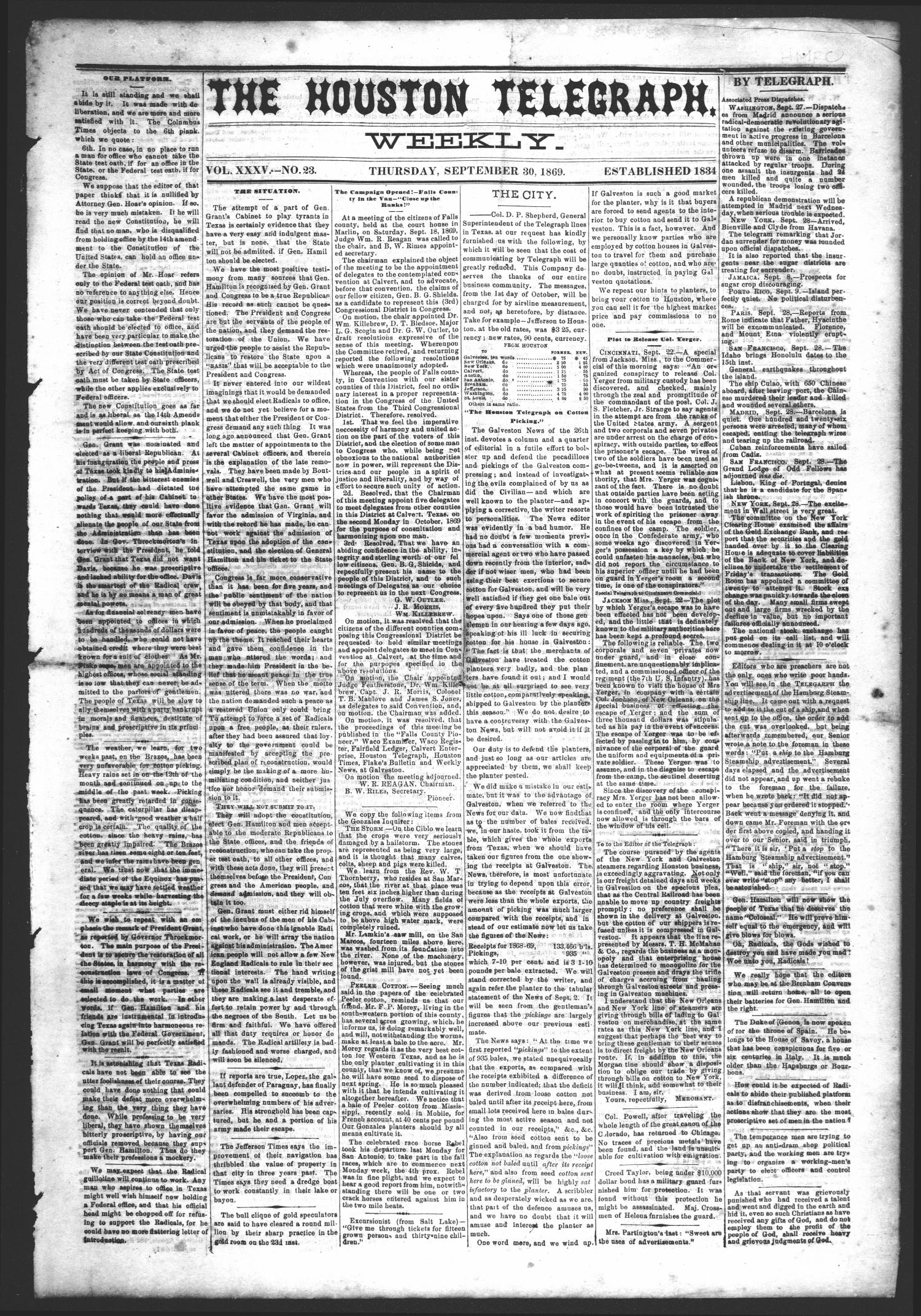 The Houston Telegraph (Houston, Tex.), Vol. 35, No. 23, Ed. 1 Thursday, September 30, 1869                                                                                                      [Sequence #]: 1 of 8