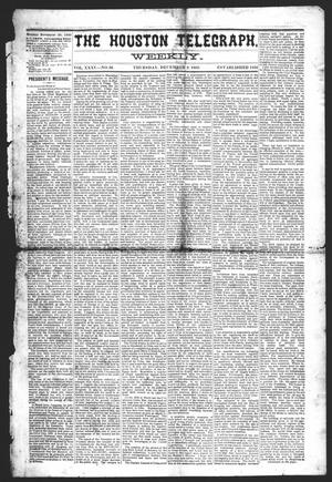 Primary view of object titled 'The Houston Telegraph (Houston, Tex.), Vol. 35, No. 32, Ed. 1 Thursday, December 9, 1869'.