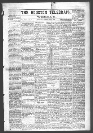 Primary view of object titled 'The Houston Telegraph (Houston, Tex.), Vol. 35, No. 39, Ed. 1 Thursday, February 3, 1870'.