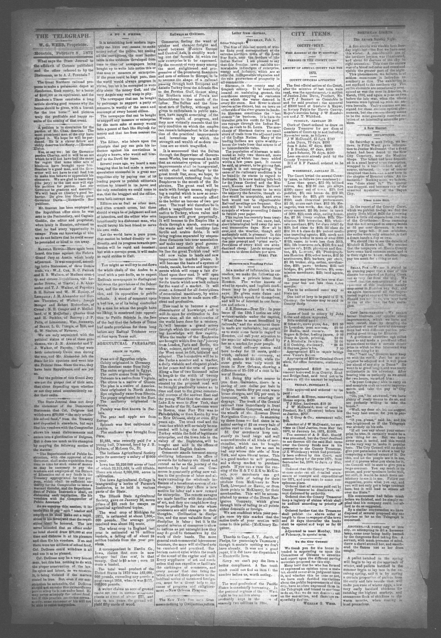 The Houston Telegraph (Houston, Tex.), Vol. 37, No. 42, Ed. 1 Thursday, February 8, 1872                                                                                                      [Sequence #]: 2 of 12