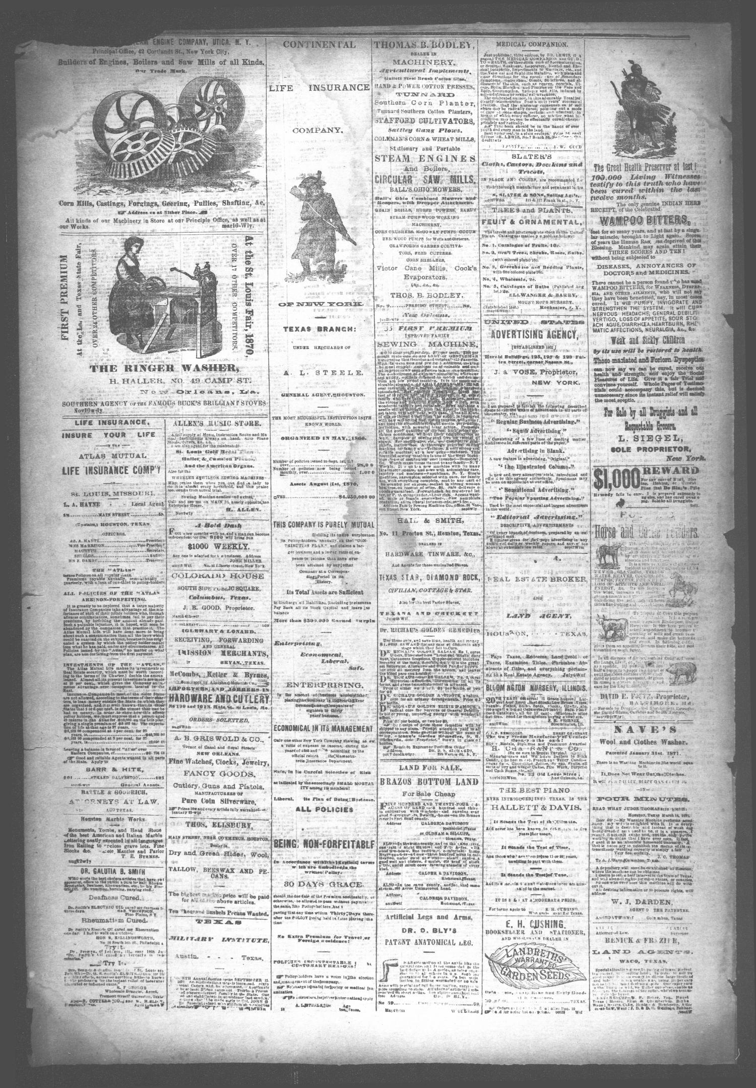 The Houston Telegraph (Houston, Tex.), Vol. 37, No. 42, Ed. 1 Thursday, February 8, 1872                                                                                                      [Sequence #]: 4 of 12