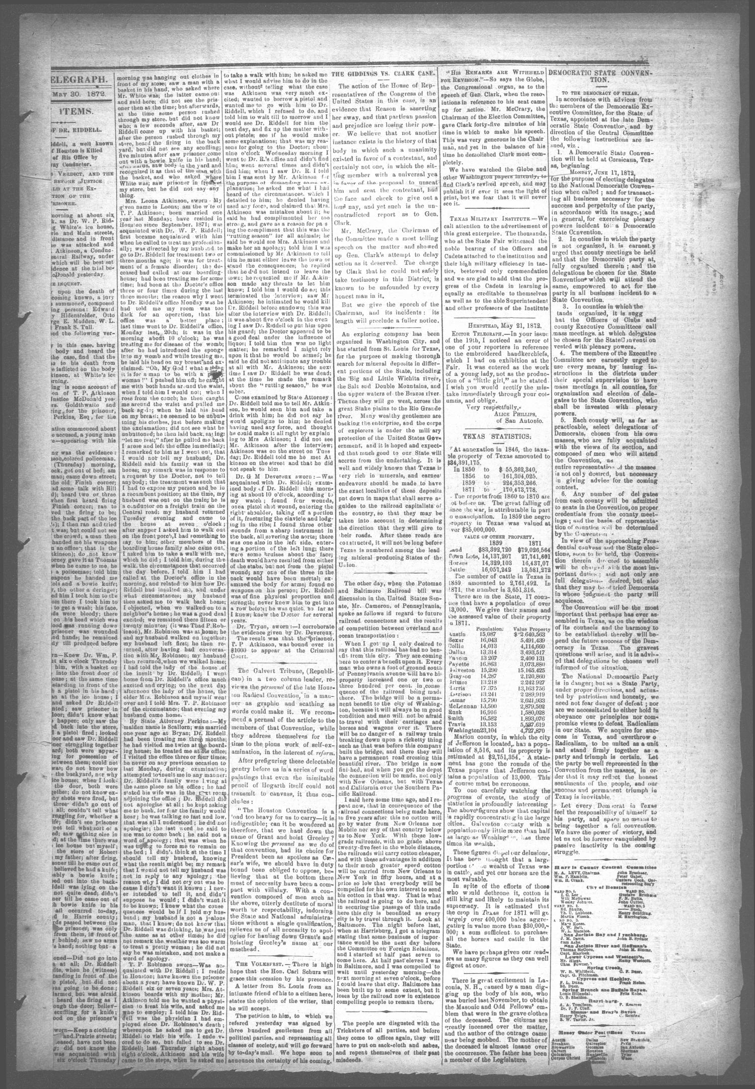 The Houston Telegraph (Houston, Tex.), Vol. 38, No. 6, Ed. 1 Thursday, May 30, 1872                                                                                                      [Sequence #]: 7 of 10