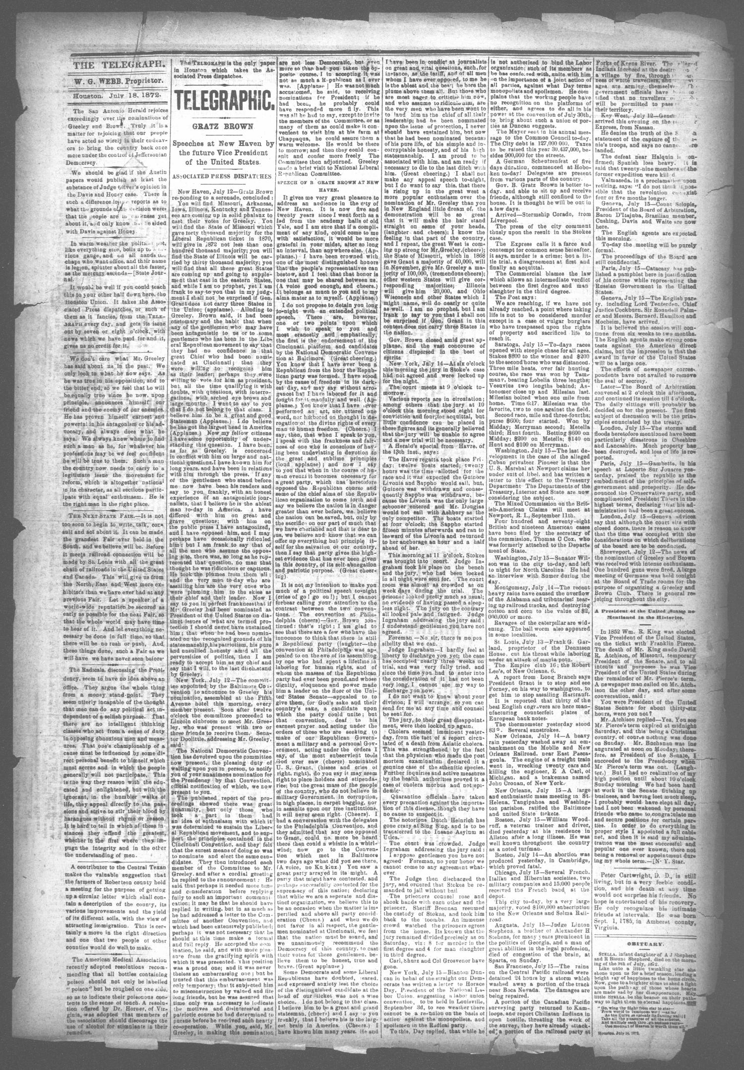 The Houston Telegraph (Houston, Tex.), Vol. 38, No. 13, Ed. 1 Thursday, July 18, 1872                                                                                                      [Sequence #]: 3 of 10