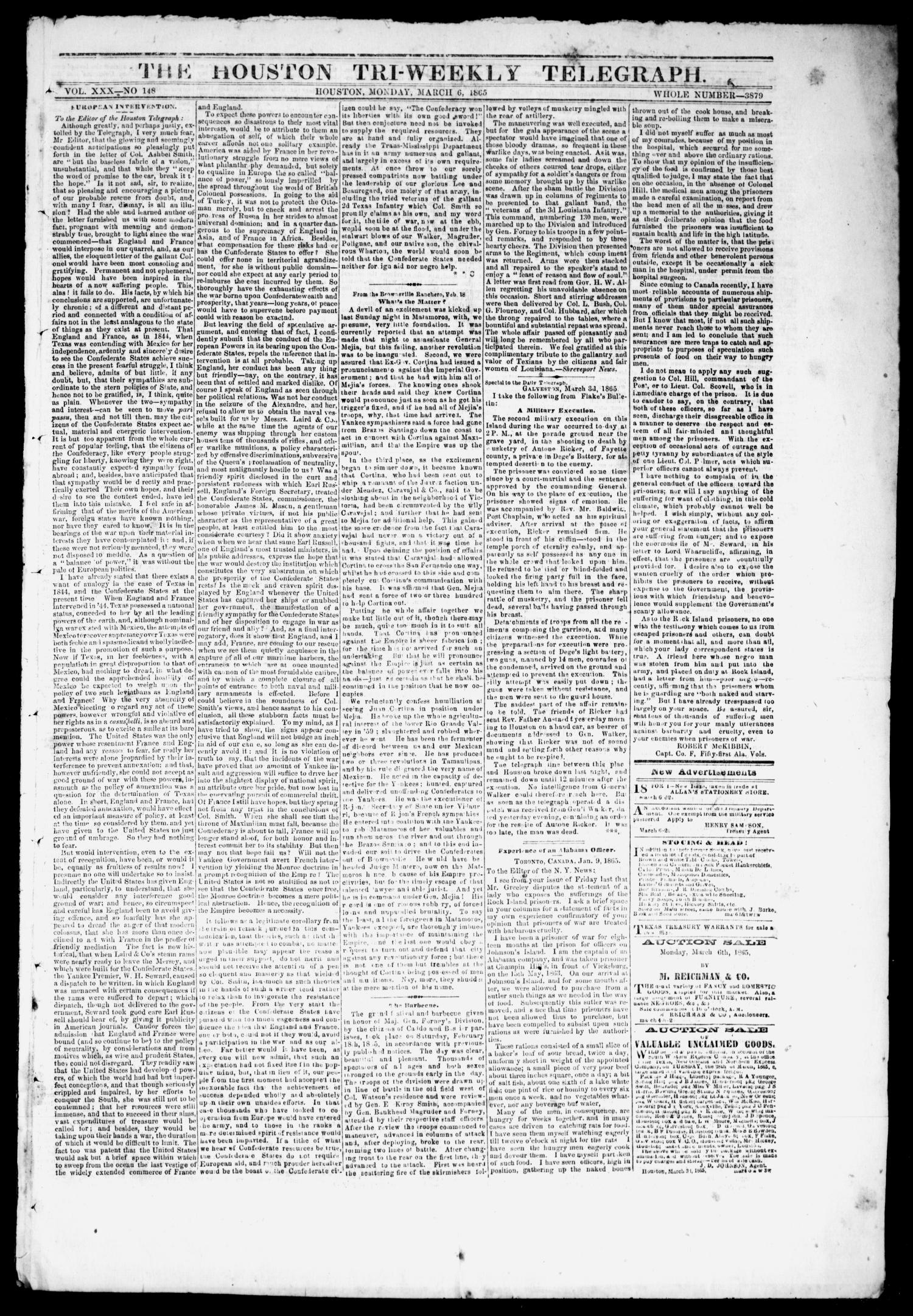 The Houston Tri-Weekly Telegraph (Houston, Tex.), Vol. 30, No. 148, Ed. 1 Monday, March 6, 1865                                                                                                      [Sequence #]: 1 of 4