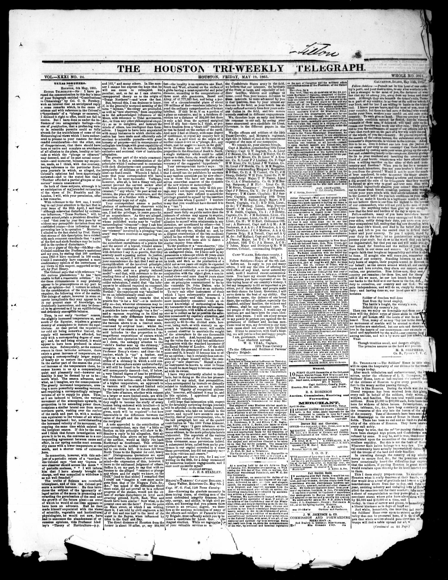 The Houston Tri-Weekly Telegraph (Houston, Tex.), Vol. 31, No. 24, Ed. 1 Friday, May 19, 1865                                                                                                      [Sequence #]: 1 of 4