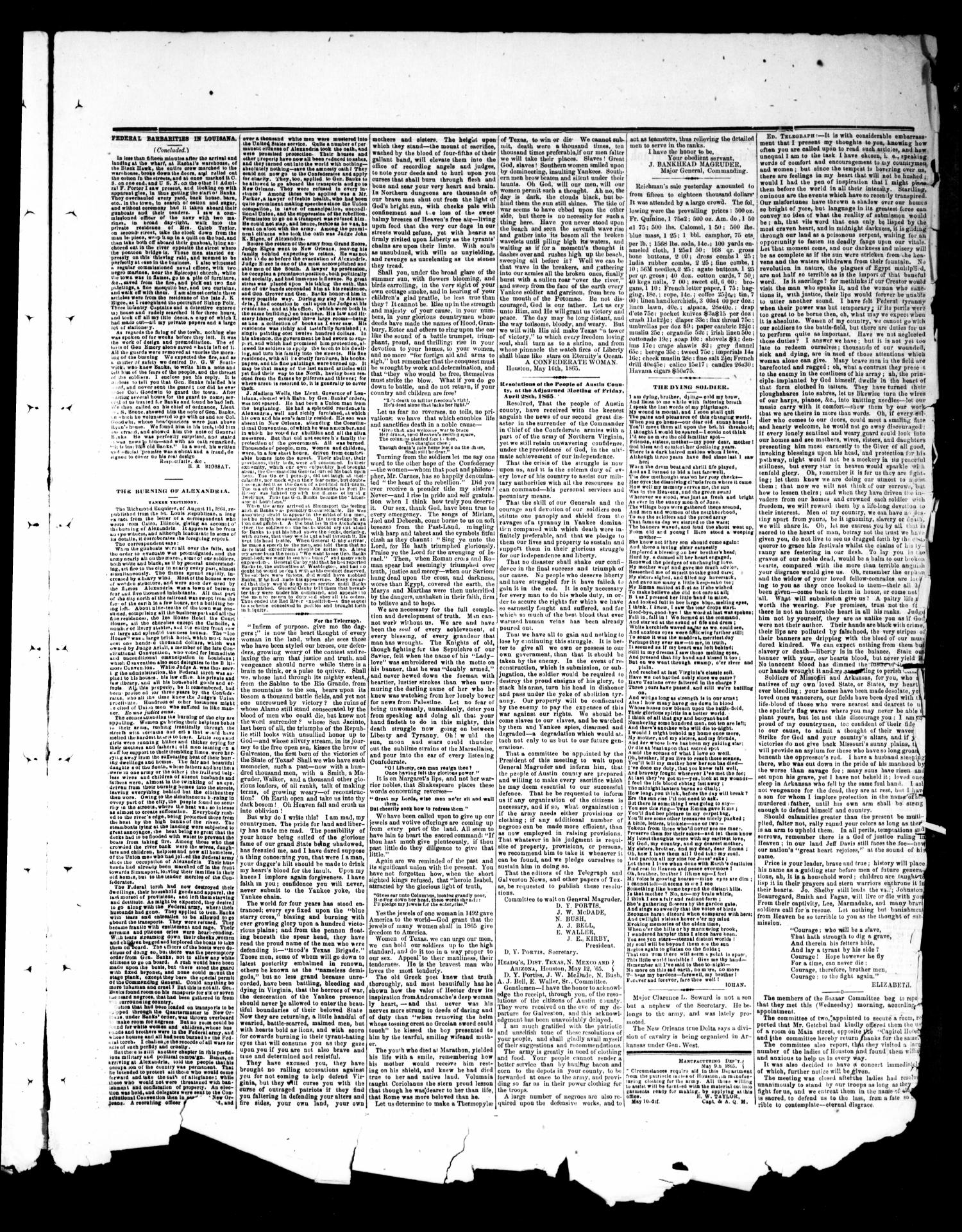 The Houston Tri-Weekly Telegraph (Houston, Tex.), Vol. 31, No. 24, Ed. 1 Friday, May 19, 1865                                                                                                      [Sequence #]: 3 of 4