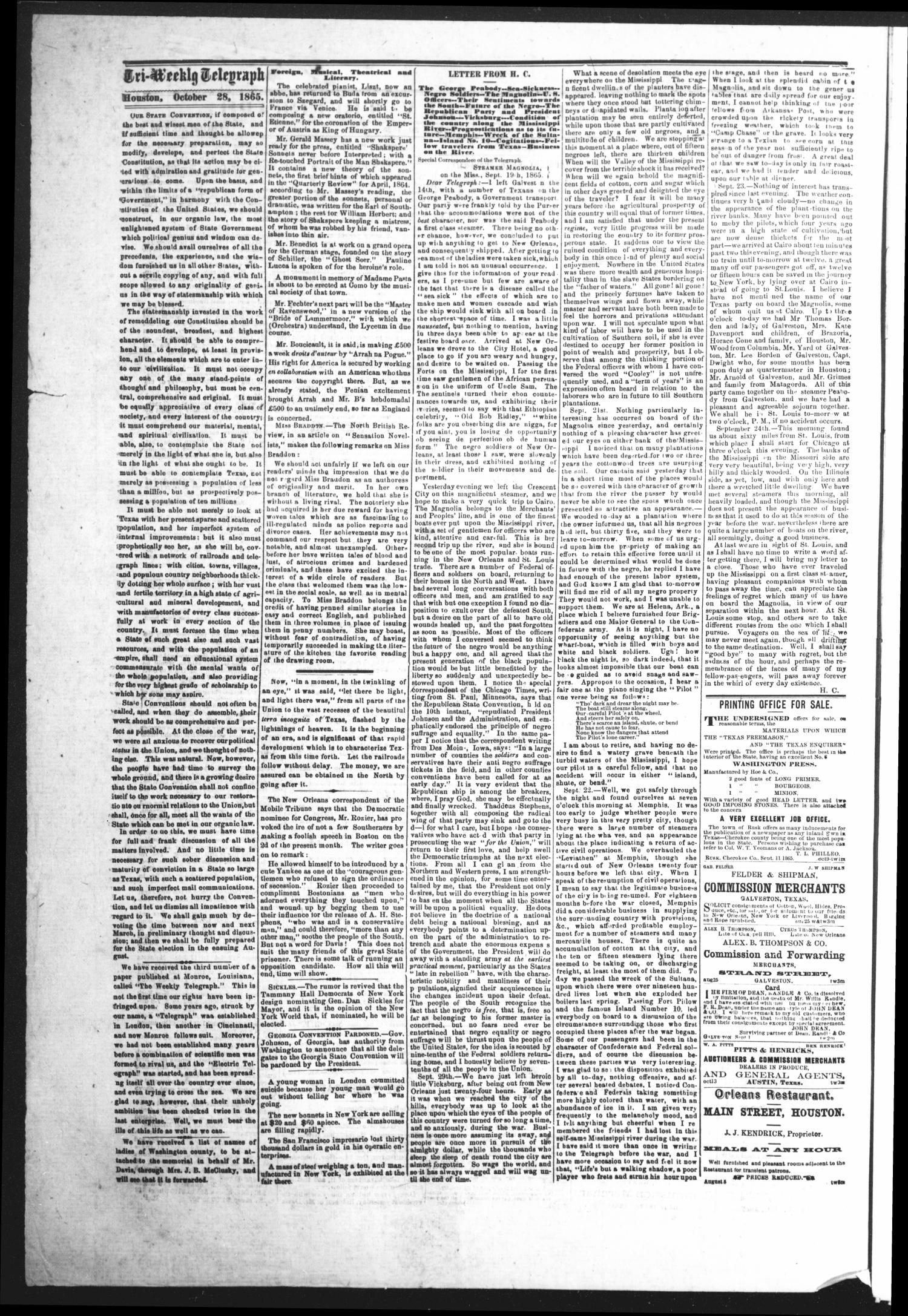 The Houston Tri-Weekly Telegraph (Houston, Tex.), Vol. 31, No. 102, Ed. 1 Monday, October 30, 1865                                                                                                      [Sequence #]: 2 of 8