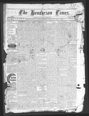 Primary view of object titled 'The Henderson Times.  (Henderson, Tex.), Vol. 25, No. [14], Ed. 1 Thursday, April 3, 1884'.