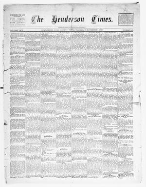 Primary view of object titled 'The Henderson Times.  (Henderson, Tex.), Vol. 30, No. 45, Ed. 1 Thursday, November 7, 1889'.