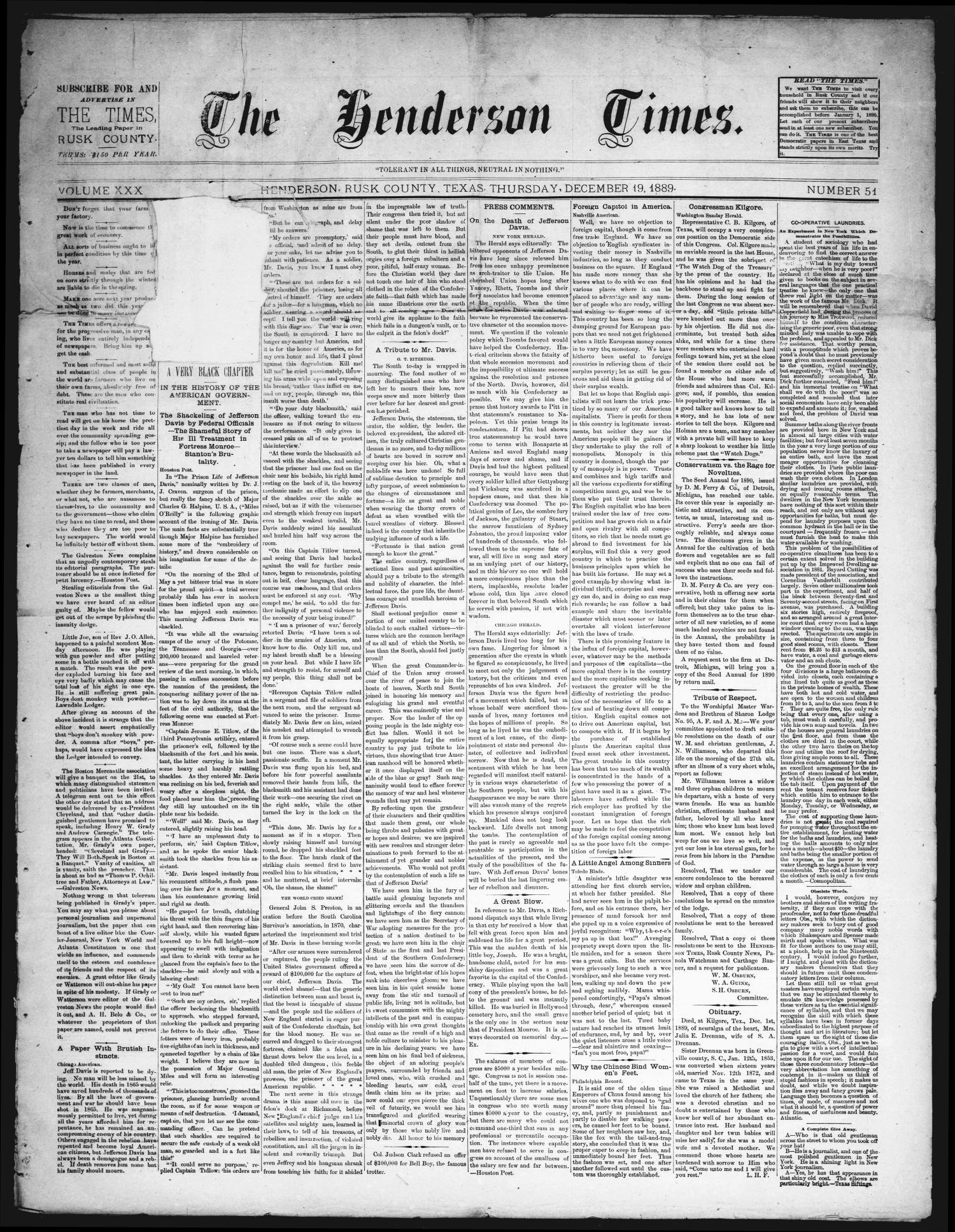 The Henderson Times.  (Henderson, Tex.), Vol. 30, No. 51, Ed. 1 Thursday, December 19, 1889                                                                                                      [Sequence #]: 1 of 3