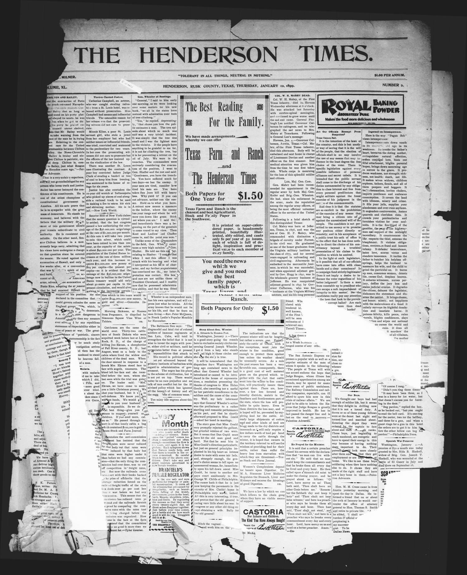 The Henderson Times.  (Henderson, Tex.), Vol. 40, No. 2, Ed. 1 Thursday, January 12, 1899                                                                                                      [Sequence #]: 1 of 4