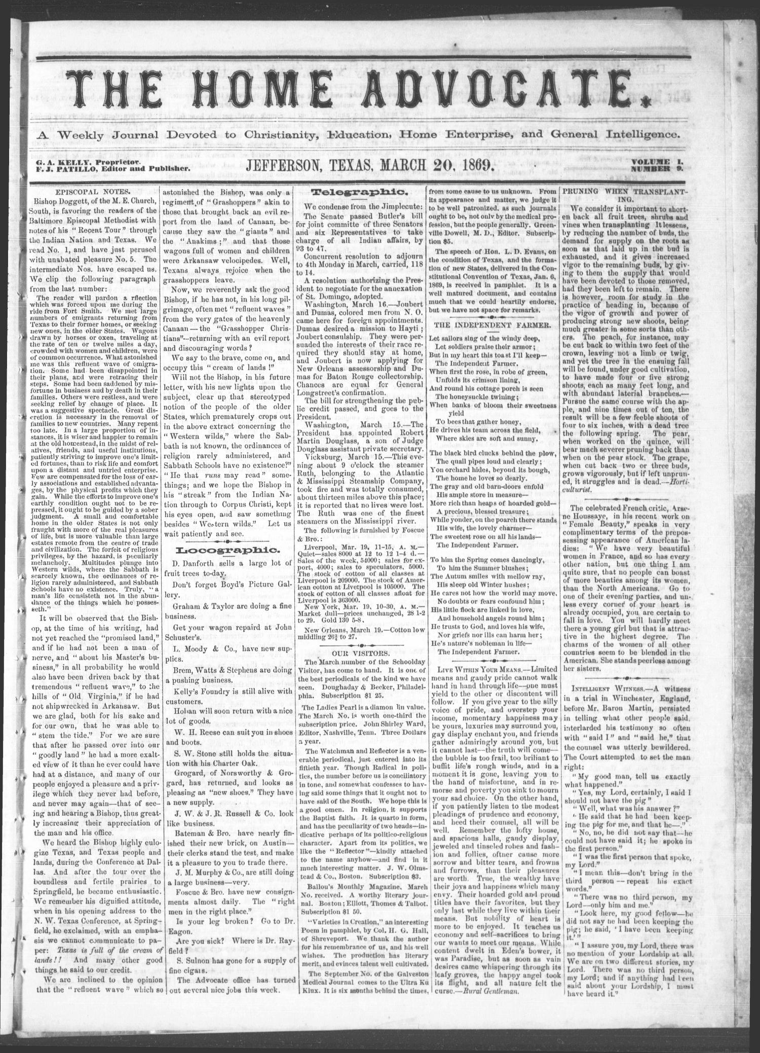 The Home Advocate. (Jefferson, Tex.), Vol. 1, No. 9, Ed. 1 Saturday, March 20, 1869                                                                                                      [Sequence #]: 1 of 4