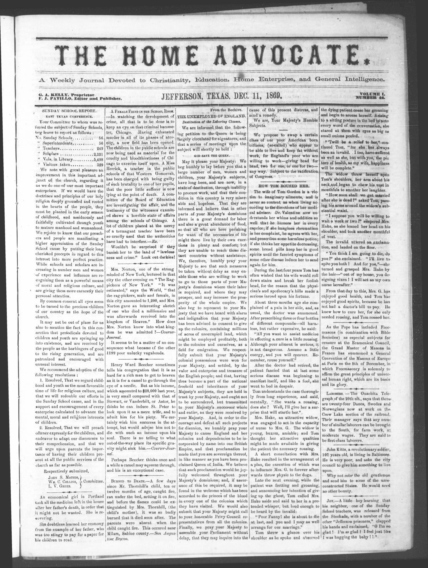 The Home Advocate. (Jefferson, Tex.), Vol. 1, No. 46, Ed. 1 Saturday, December 11, 1869                                                                                                      [Sequence #]: 1 of 4
