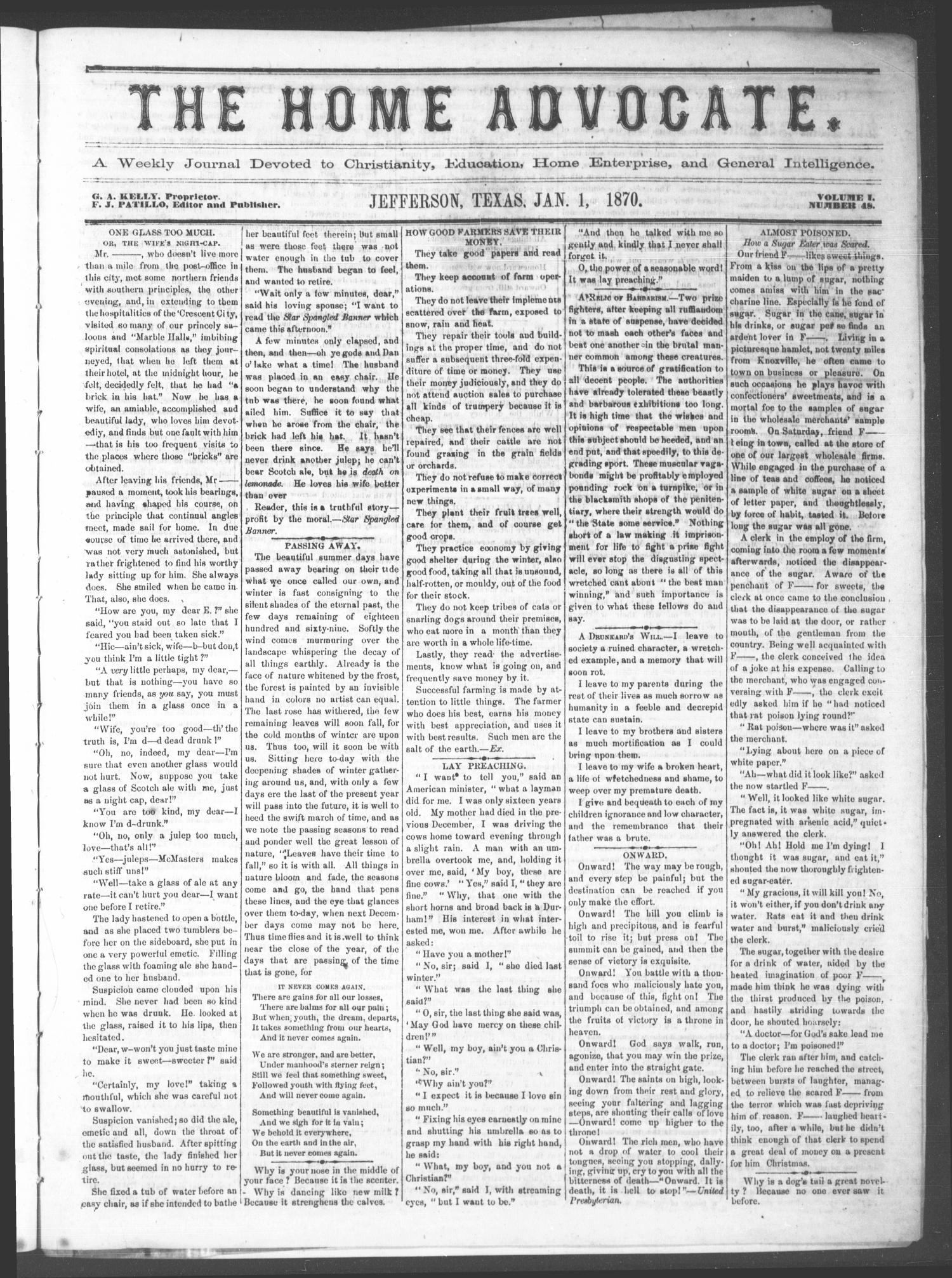 The Home Advocate. (Jefferson, Tex.), Vol. 1, No. 48, Ed. 1 Saturday, January 1, 1870                                                                                                      [Sequence #]: 1 of 4