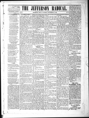 Primary view of object titled 'The Jefferson Radical. (Jefferson, Tex.), Vol. 1, No. 15, Ed. 1 Saturday, November 20, 1869'.