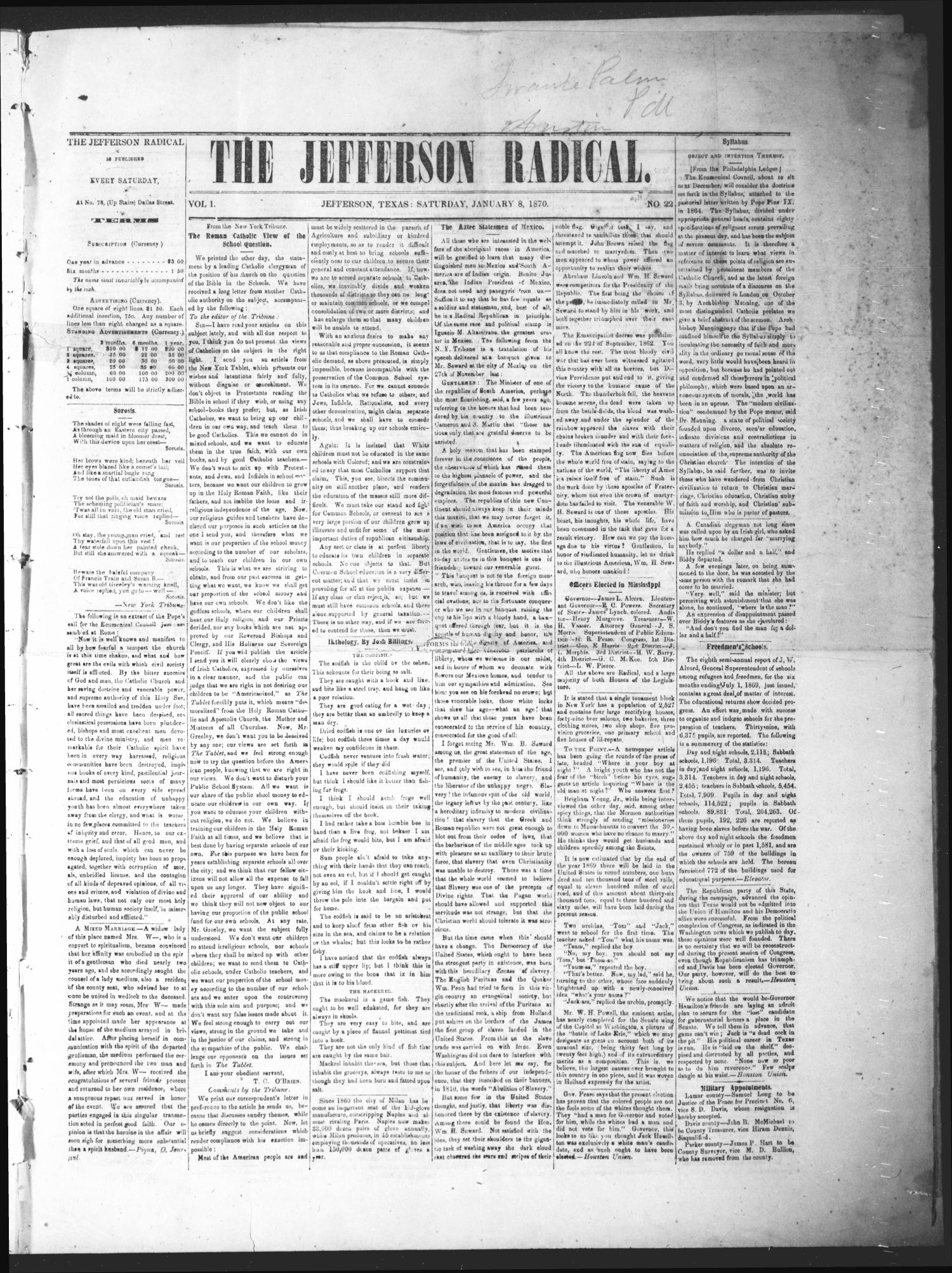 The Jefferson Radical. (Jefferson, Tex.), Vol. 1, No. 22, Ed. 1 Saturday, January 8, 1870                                                                                                      [Sequence #]: 1 of 4