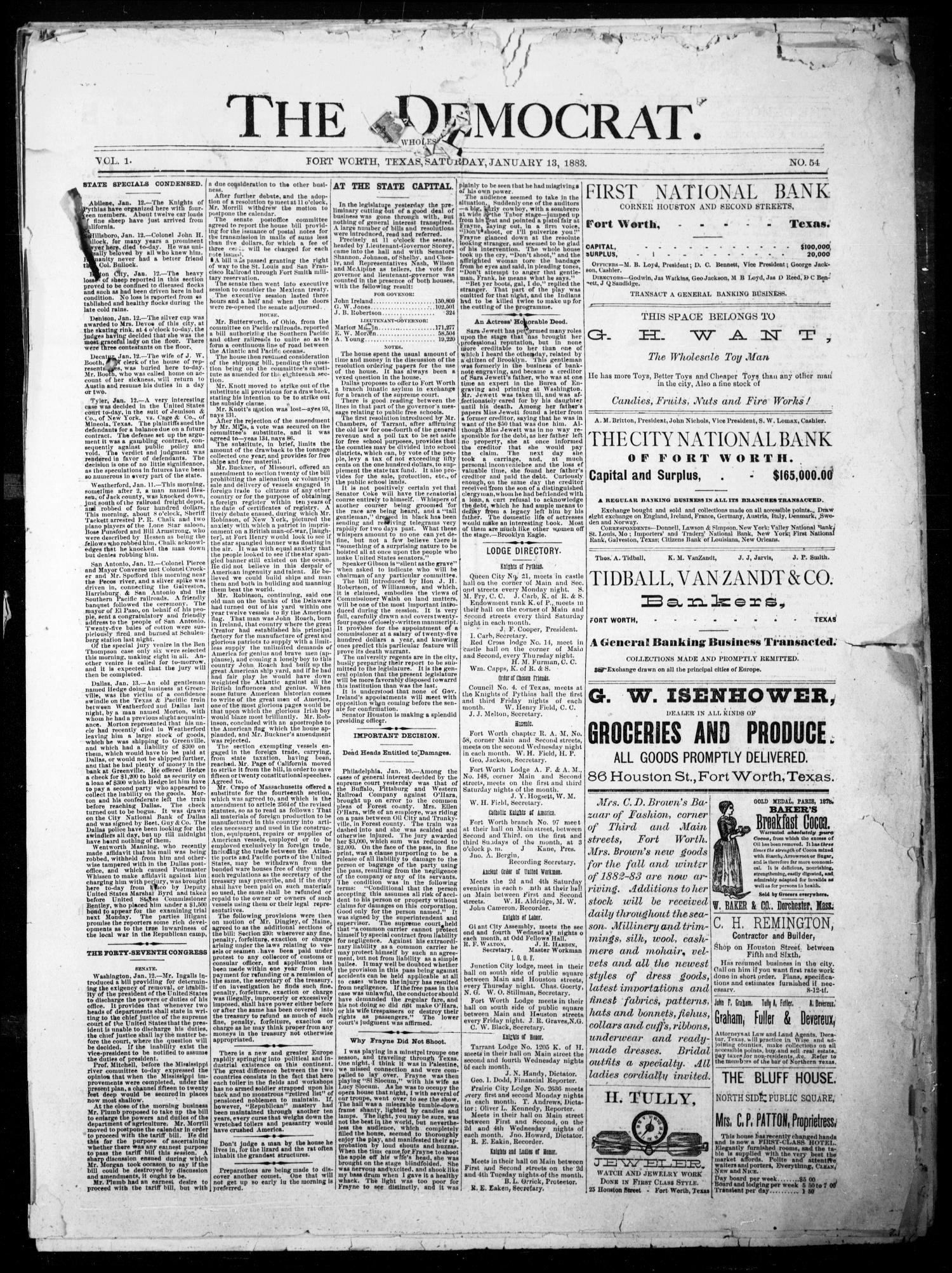 The Democrat. (Fort Worth, Tex.), Vol. 1, No. 54, Ed. 1 Saturday, January 13, 1883                                                                                                      [Sequence #]: 1 of 4
