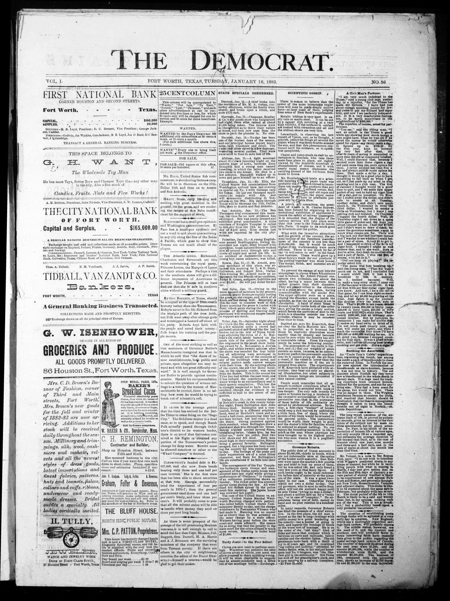 The Democrat. (Fort Worth, Tex.), Vol. 1, No. 56, Ed. 1 Tuesday, January 16, 1883                                                                                                      [Sequence #]: 1 of 4